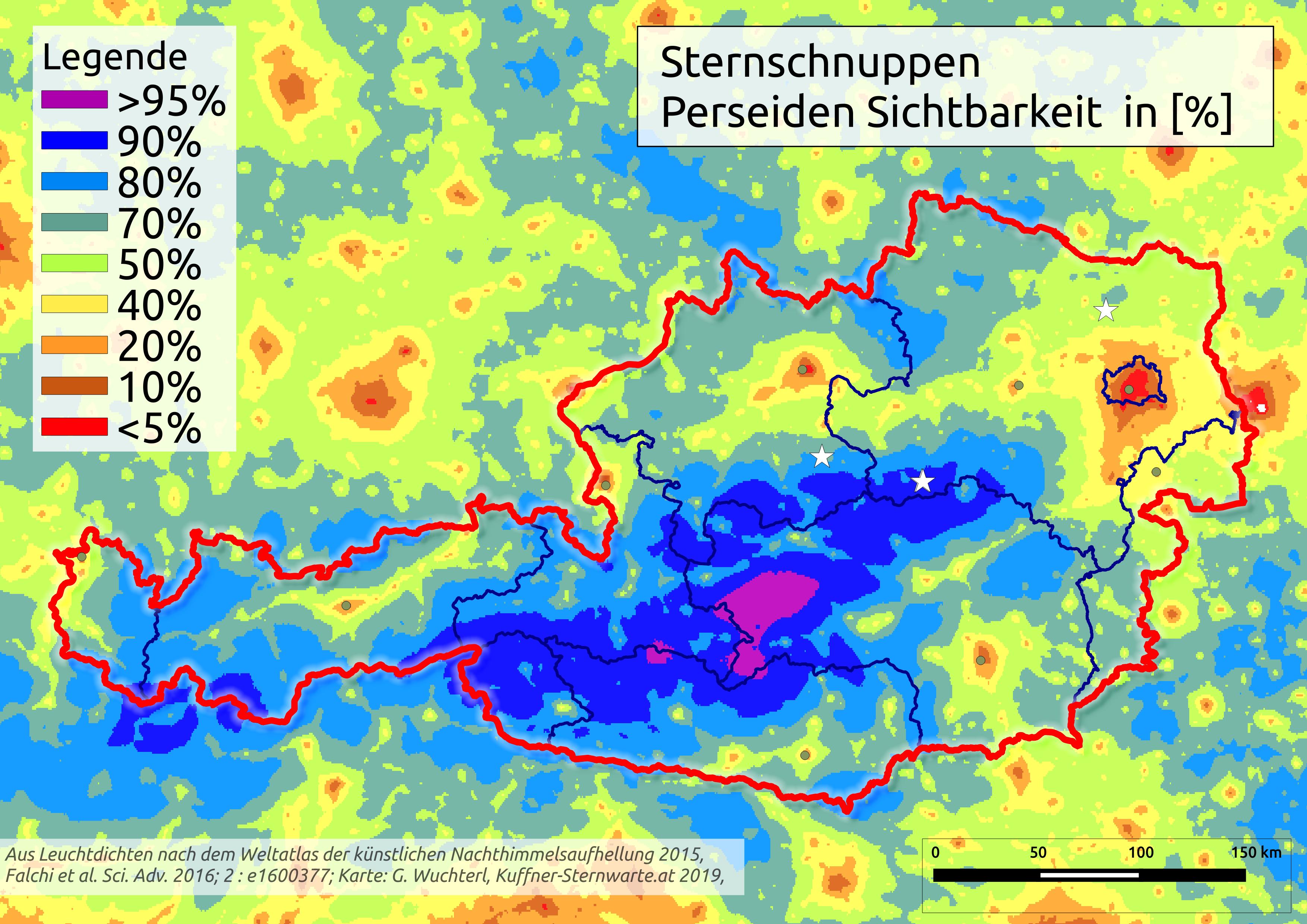 Ö Karte Sternschnuppensichtbarkeit. © Günther Wuchterl, Verein Kuffner-Sternwarte und Lebensraum Naturnacht